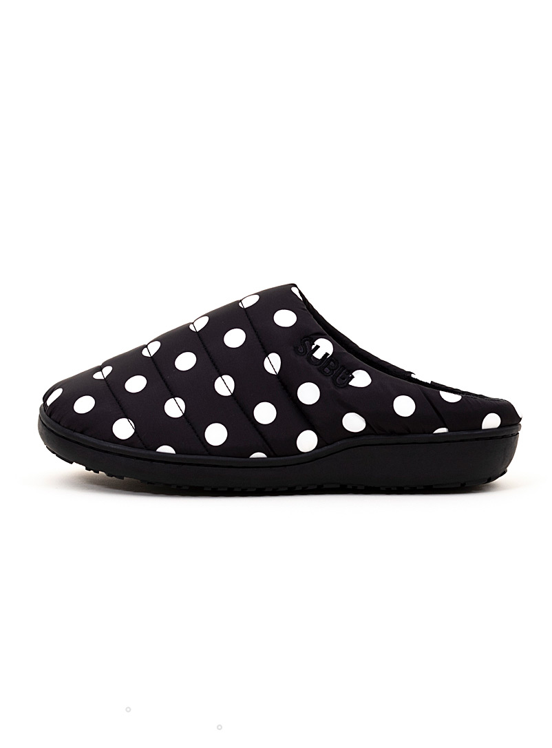 Subu Patterned Black Dotted quilted mule slipper for women
