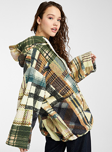 Check patchwork sherpa hoodie