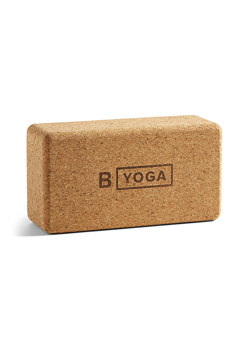 B Yoga Brown Cork firm support block for men