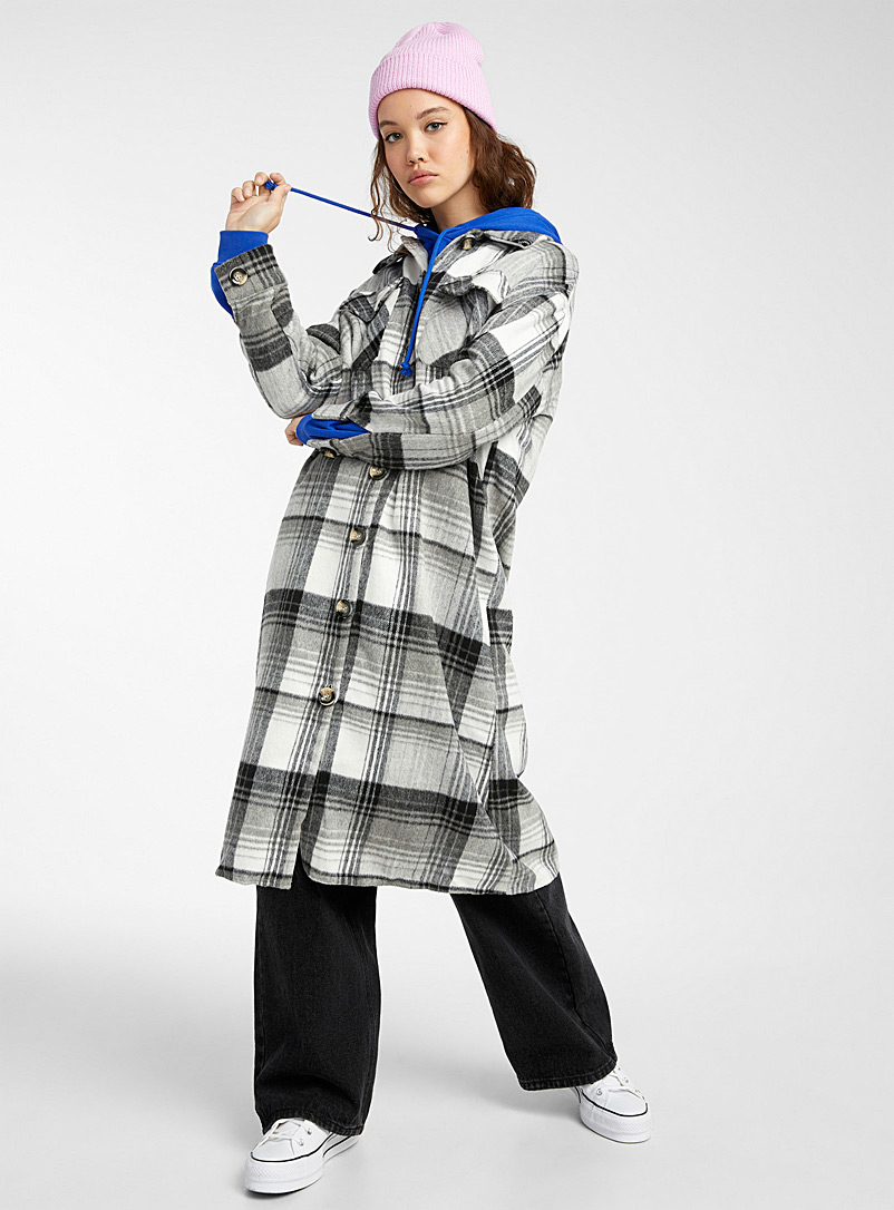 Twik Patterned White Check flannel overshirt for women