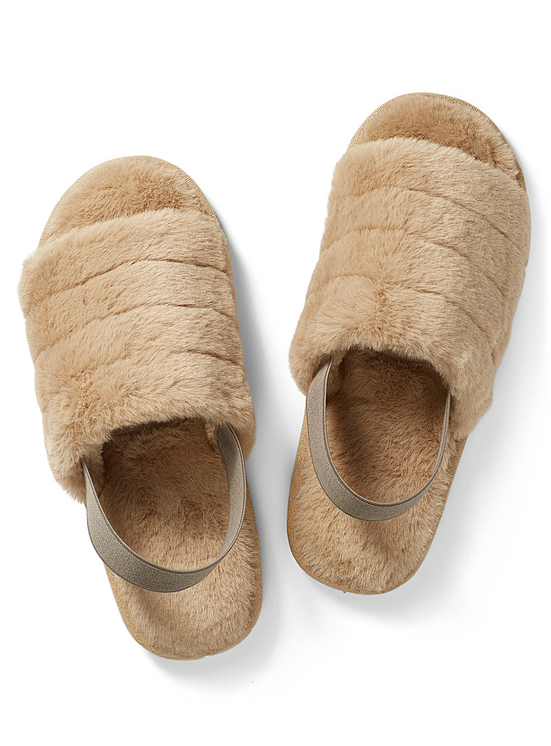 Miiyu Cream Beige Faux-fur slide slippers for women