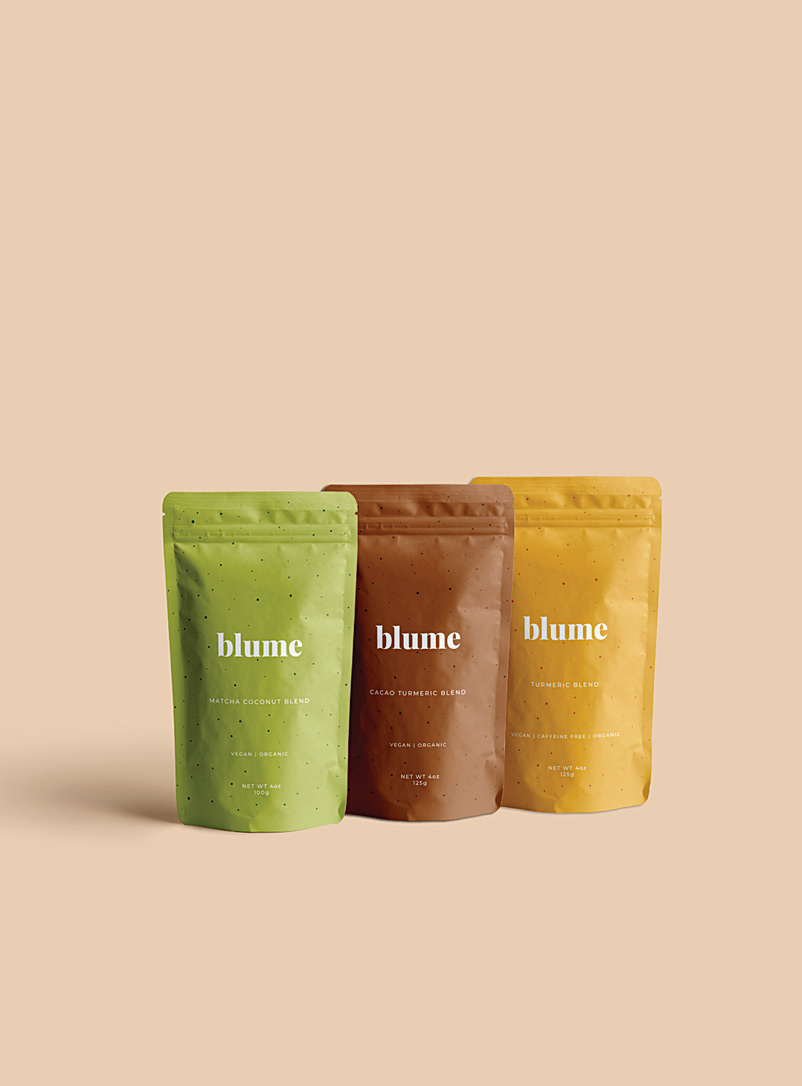 Blume Assorted Turmeric, cacao and matcha latte blends  Set of 3 for women