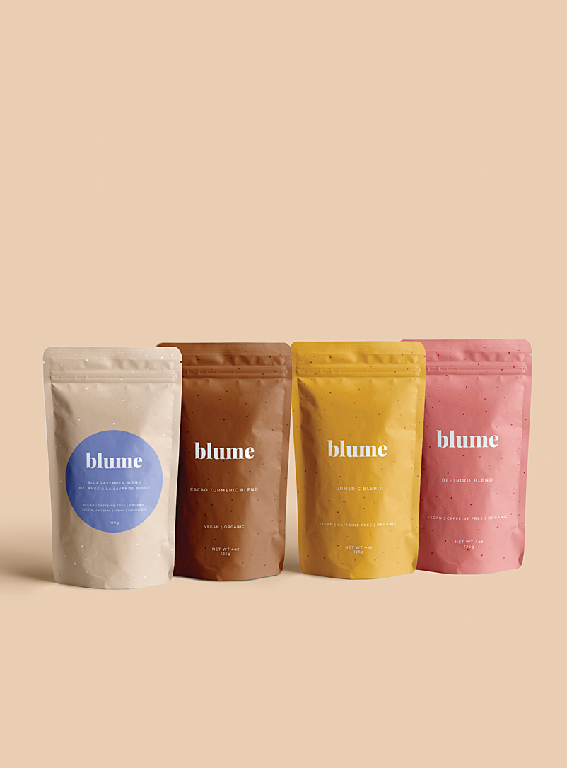 Blume Assorted Turmeric, cacao, lavender and beetroot latte blends  Set of 4 for women