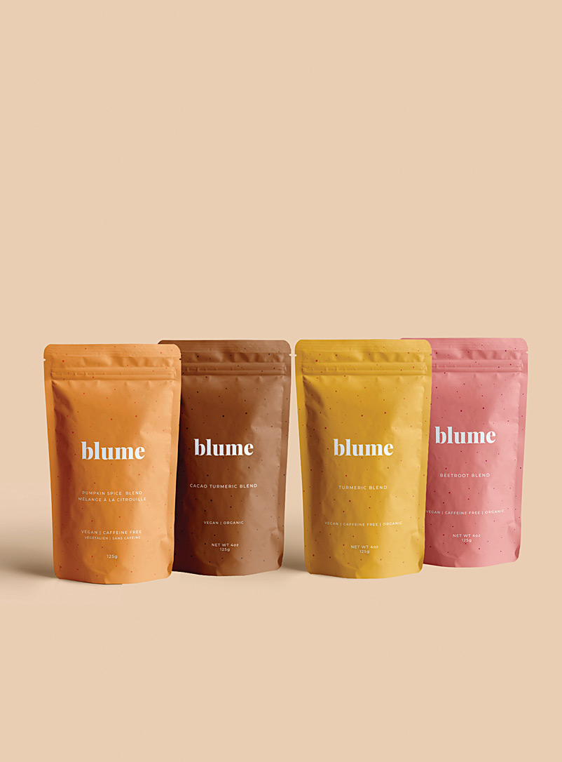 Blume Assorted Turmeric, cacao, beetroot and pumpkin latte blends  Set of 4 for women