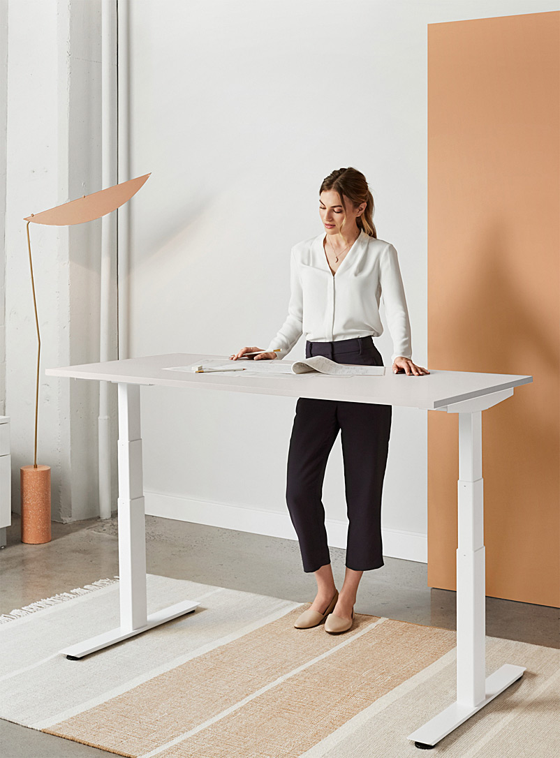 ergonofis Light Grey Shift 2.0 white base sit-stand desk  3 sizes available