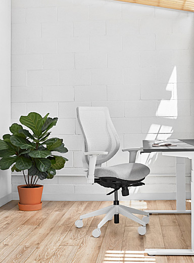 YouToo ergonomic chair with fabric seat White base