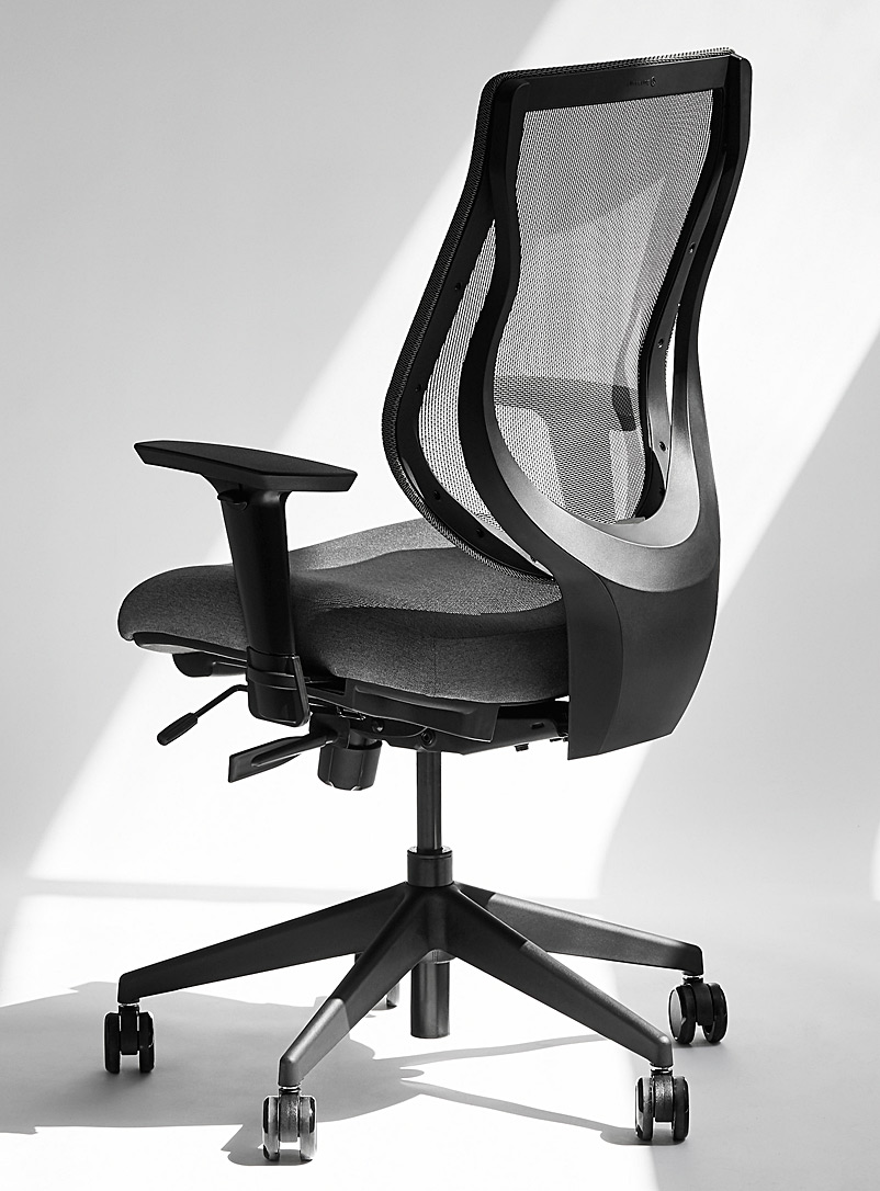 ergonofis Dark Grey YouToo ergonomic chair with fabric seat Black base
