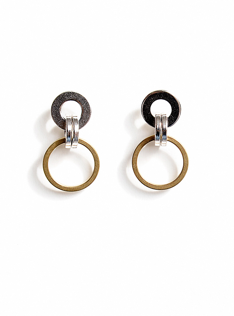 Michelle Ross Brass & Silver Nola earrings