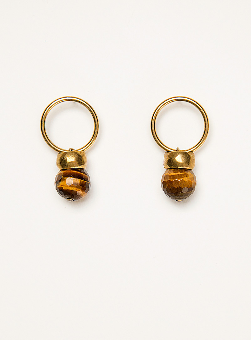 Michelle Ross Brass Tiger's eye Leo earrings