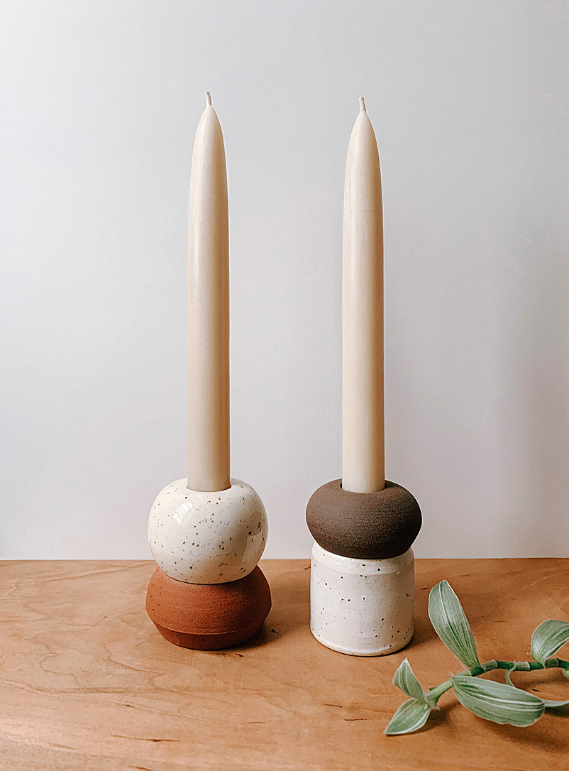 AND Ceramic Studio Assorted 2-in-1 sculptural candlestick set