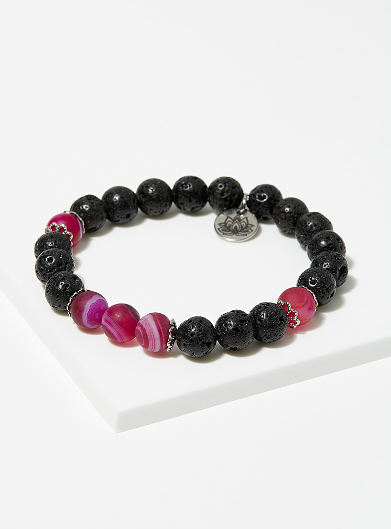 La petite amethyste Assorted black Dark pink agate bracelet for women
