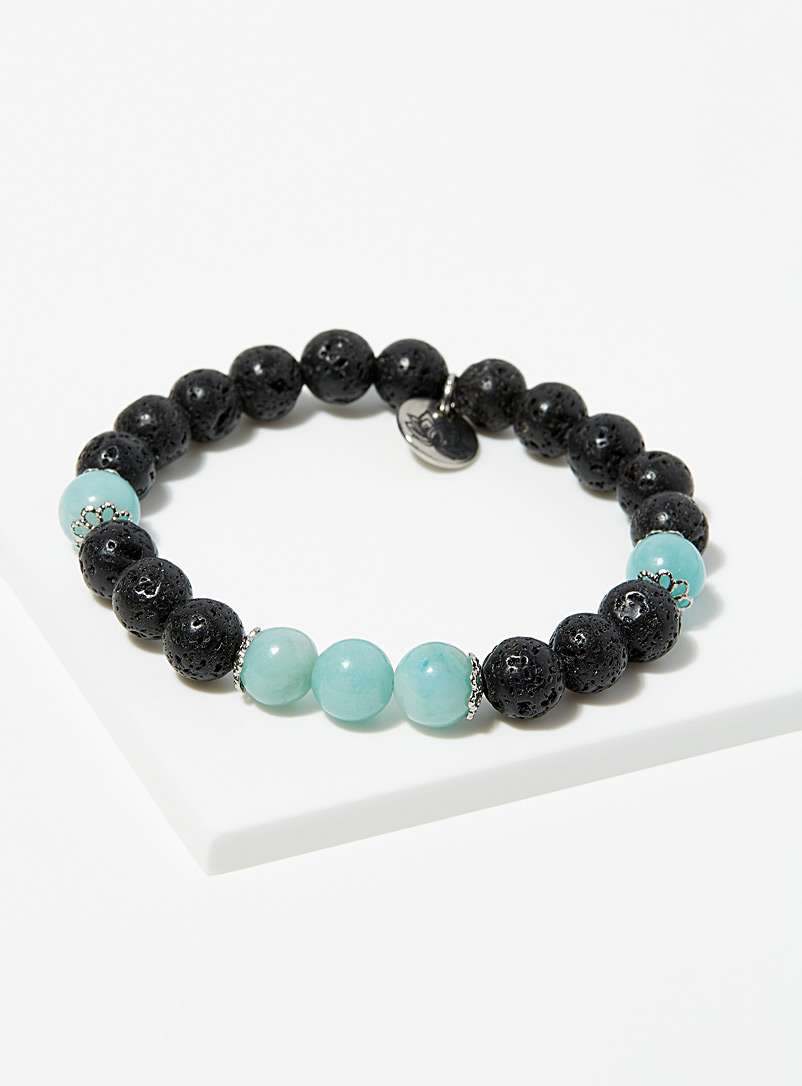 La petite amethyste Assorted black Amazonite and volcanic stone bracelet for women