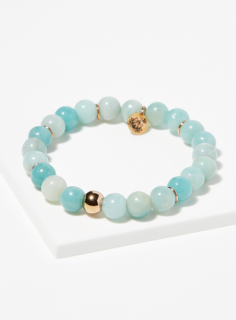 La petite amethyste Sky Blue Amazonite and rose gold bracelet for women