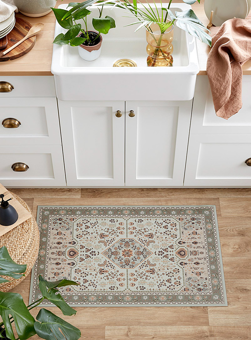 Adama Assorted beige Sand Andalusian medallion vinyl rug See available sizes