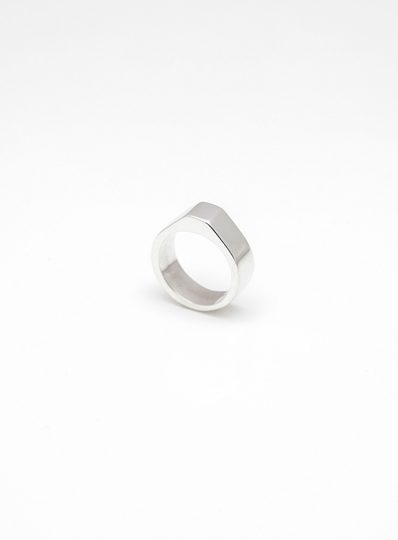 David Boardman Silver Signet angular ring