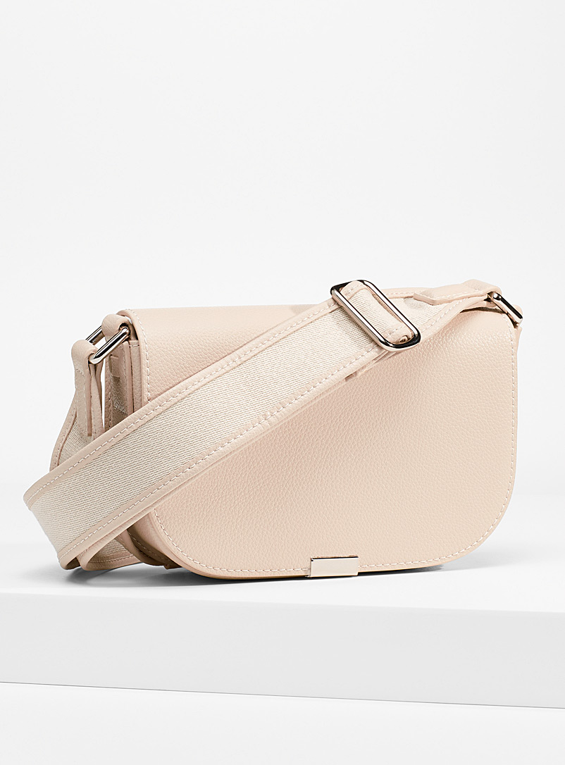 Simons Cream Beige Small recycled pebbled leather messenger bag for women