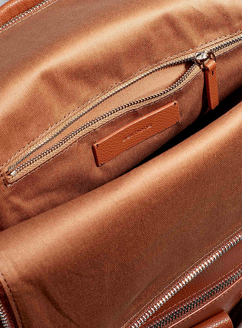 Simons Brown Recycled leather flap backpack for women