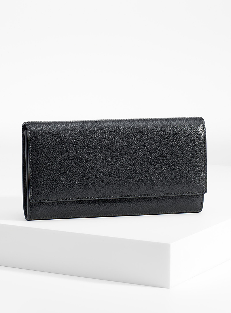Simons Black Recycled pebbled leather wallet for women