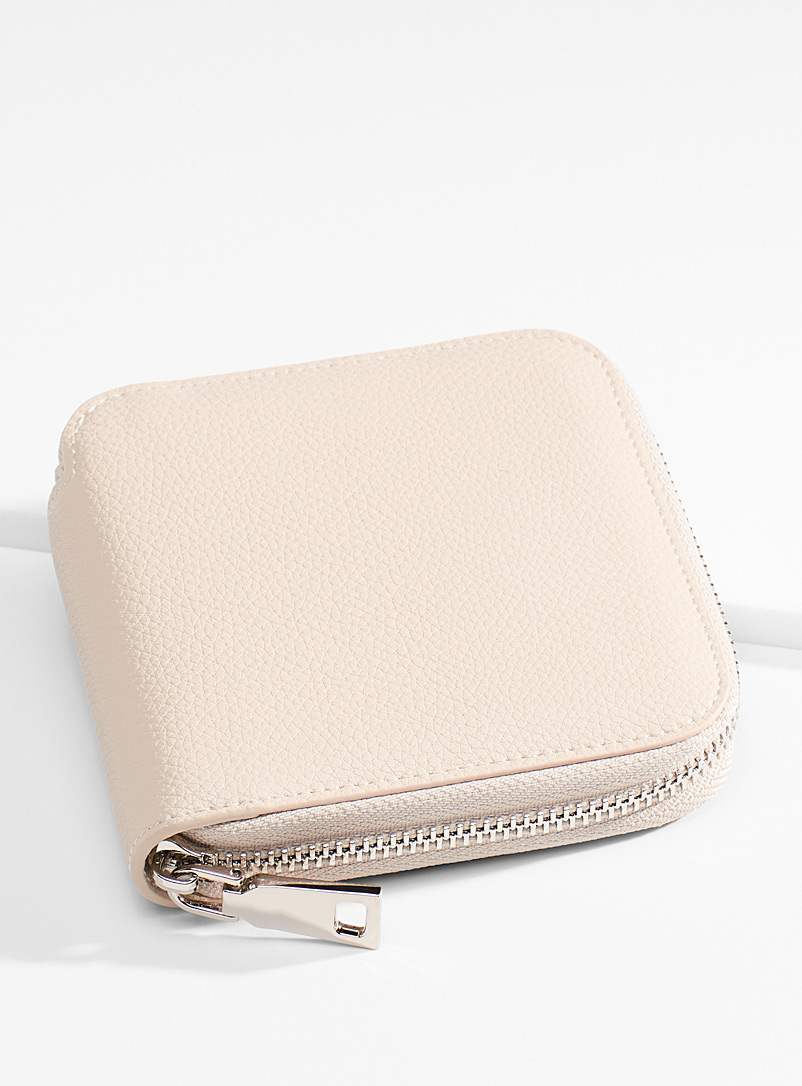 Simons Cream Beige Square recycled leather wallet for women
