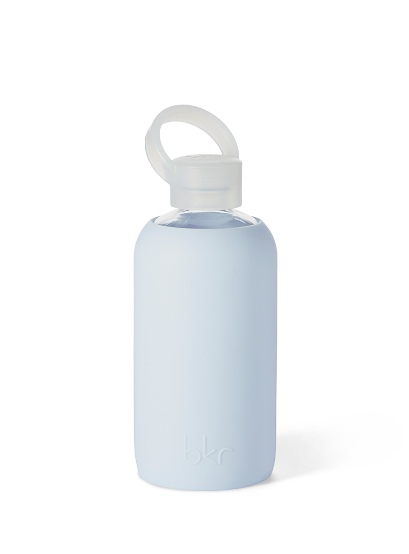 Bkr Baby Blue Small reusable glass and silicone bottle for women