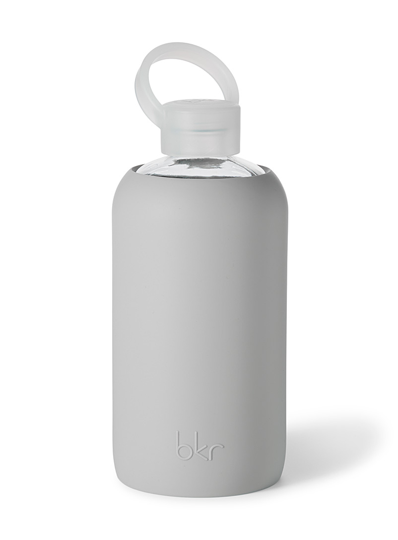 Bkr Grey Large reusable glass and silicone bottle for women