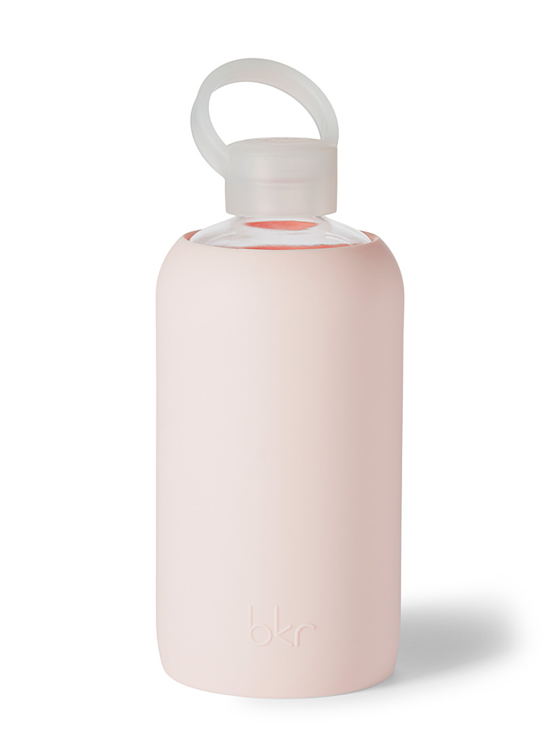 Bkr Dusky Pink Large reusable glass and silicone bottle for women