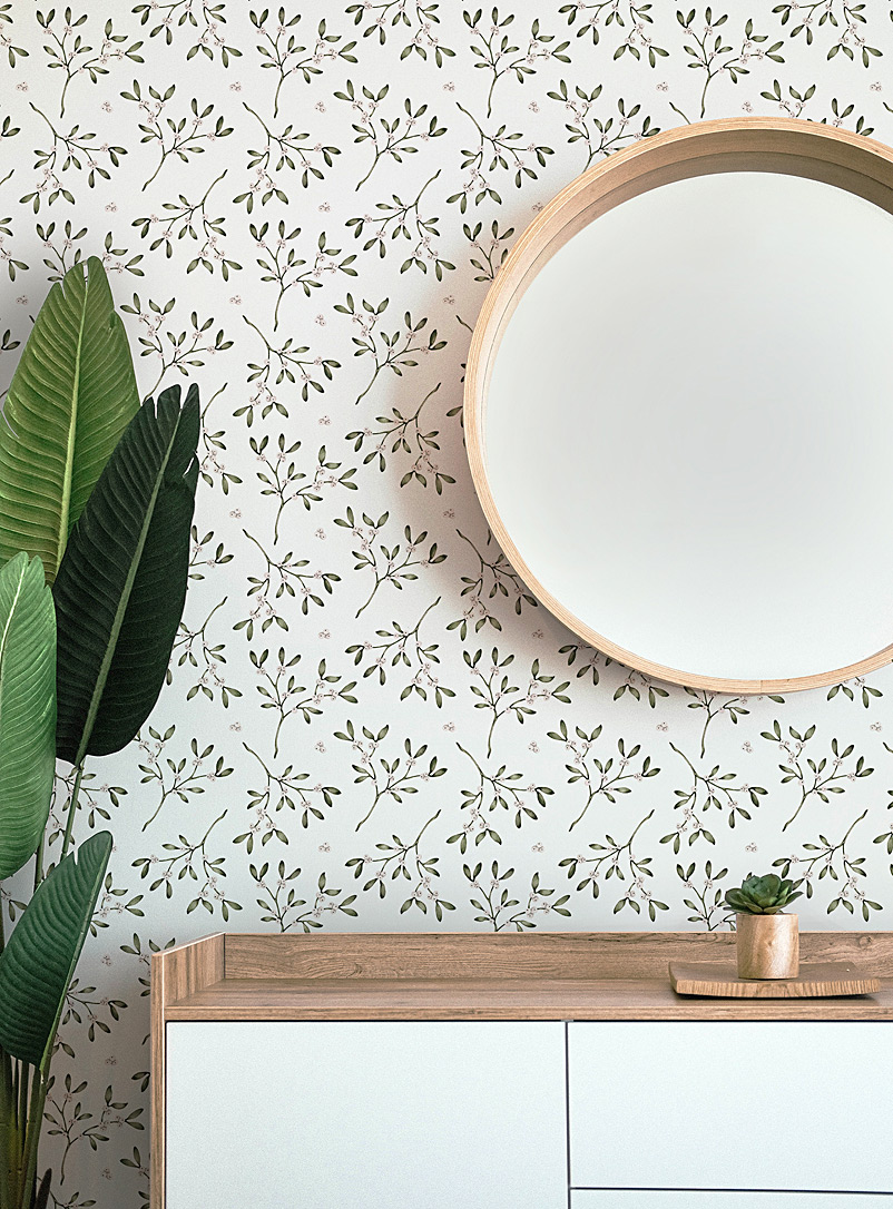 Meraki Assorted white  Chez l'apothicaire self-adhesive wallpaper strip In collaboration with artist Marie-Lise Leclerc