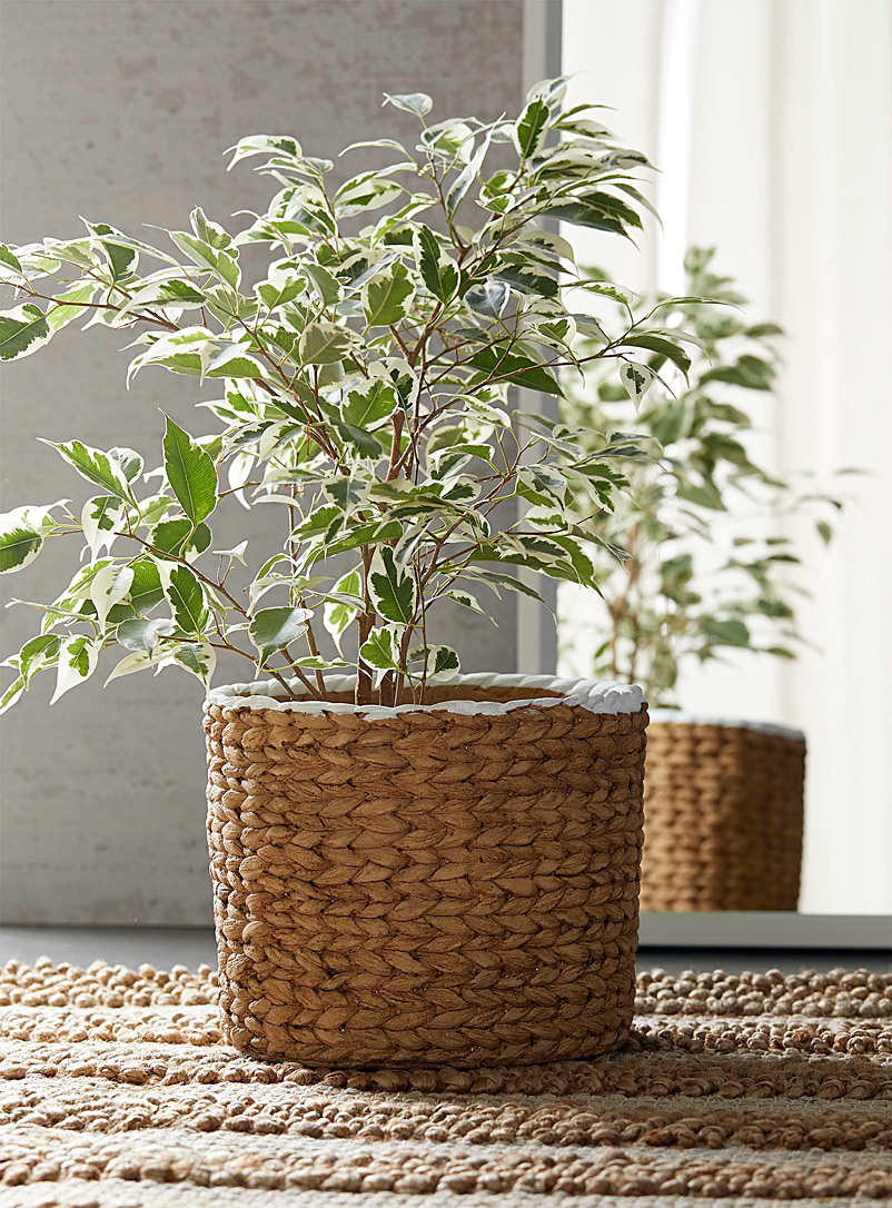 Simons Maison Light Brown Water hyacinth-style cement planter 7.75 in