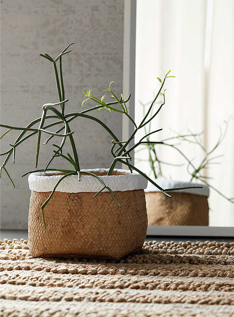 Simons Maison Light Brown Braided basket-style cement planter 7.75 in