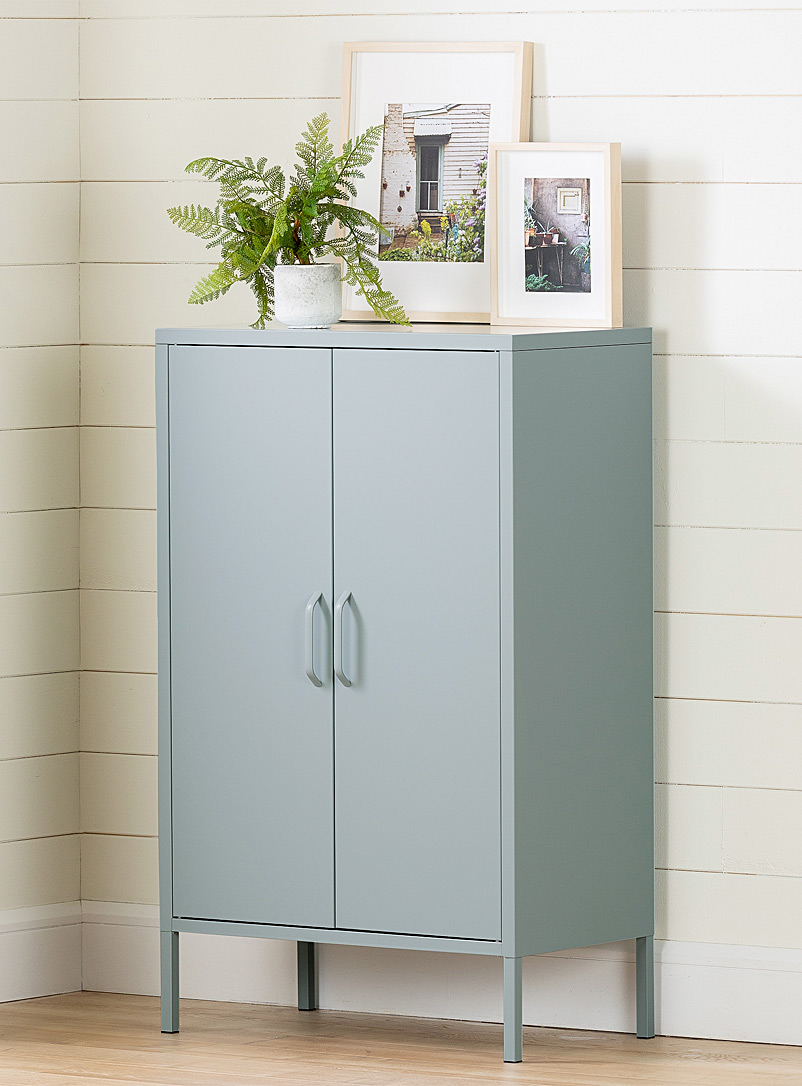 South Shore Blue All metal Crea footed cabinet