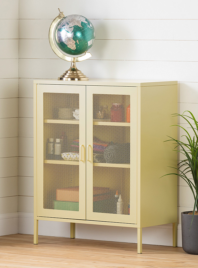 South Shore White Mesh door Crea footed cabinet