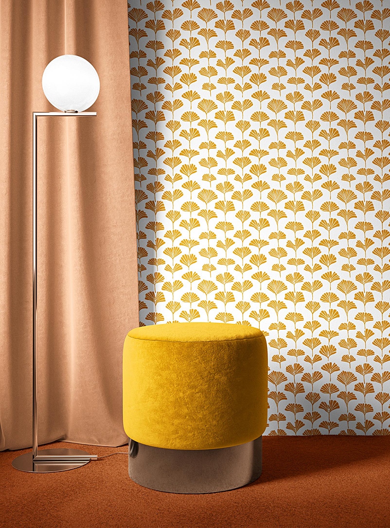 Walls of Ivy Assorted yellow  Ginkgo silkscreened wallpaper