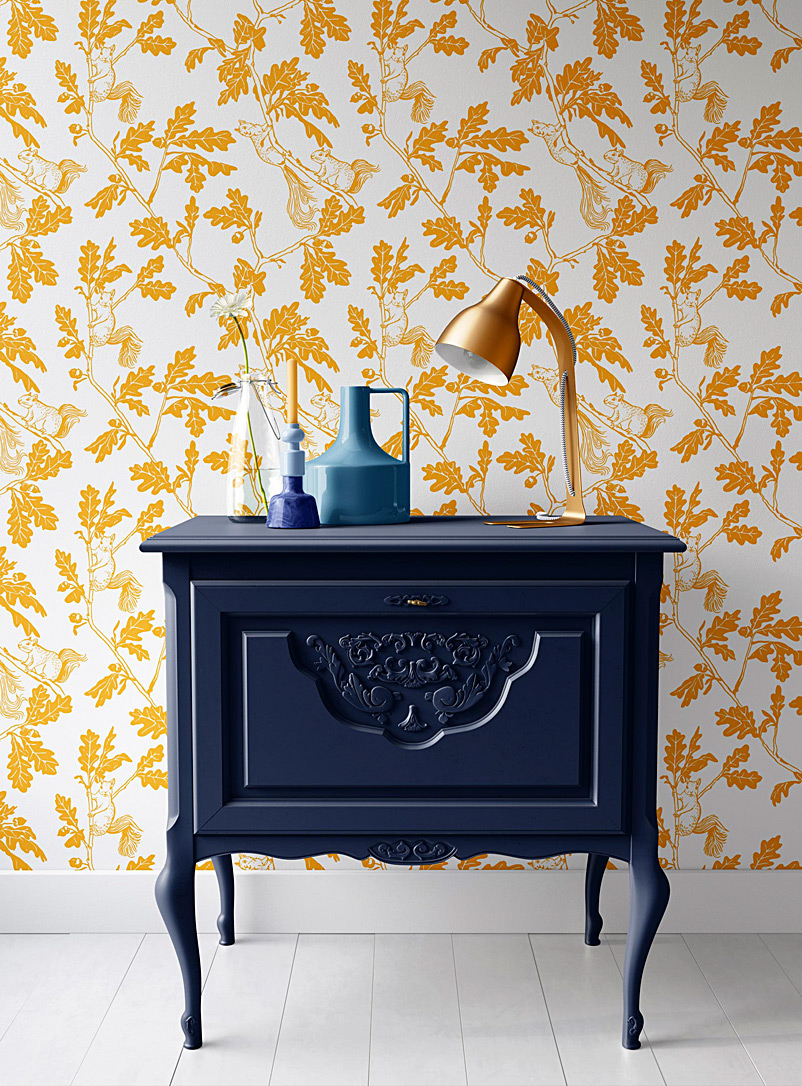 Walls of Ivy Assorted yellow  Mischievous Squirrels silkscreened wallpaper