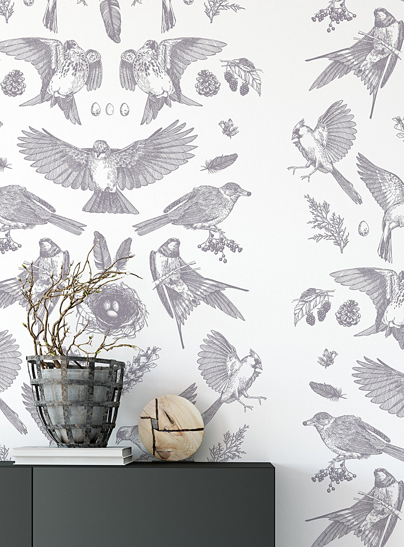 Walls of Ivy Assorted grey Birds in the wild silkscreened wallpaper