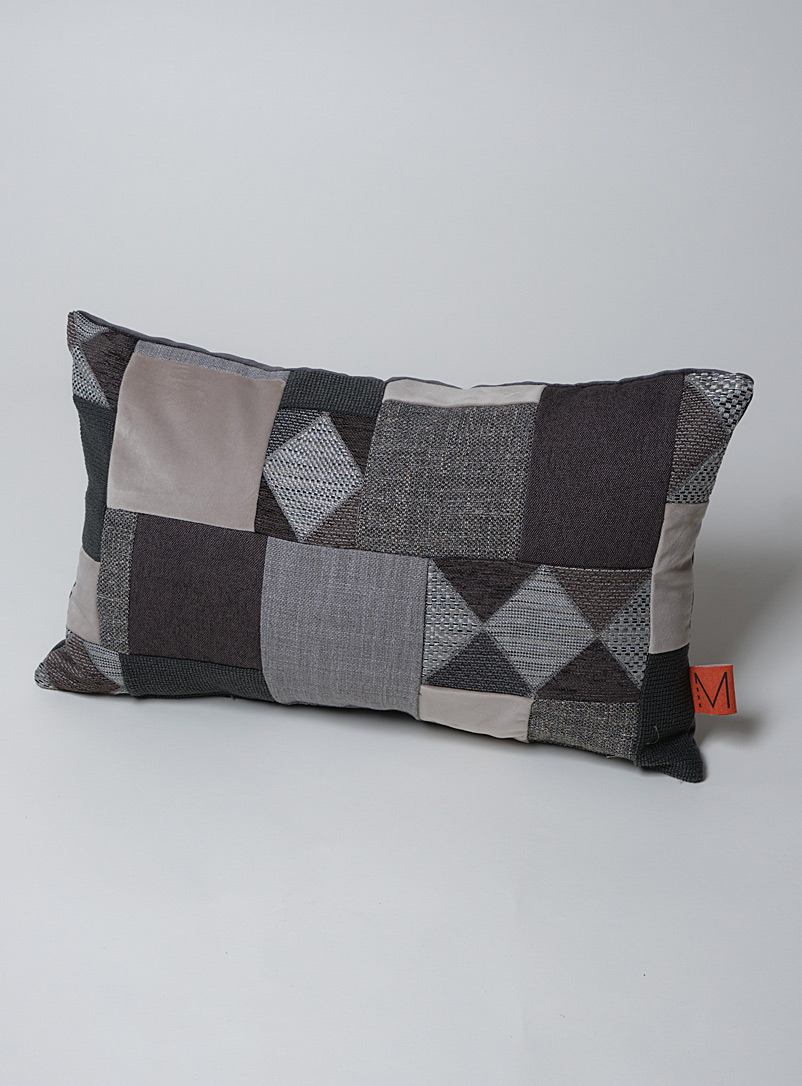 MoMa.Studio Assorted Monochrome diamond recycled patchwork cushion 35.5 x 61 cm