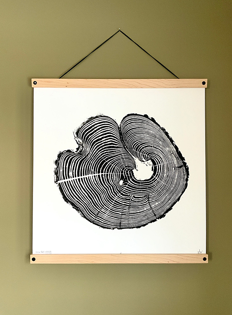 Nice Art People Black and White Russian olive II tree ring art print 19.75 x 19.75 in