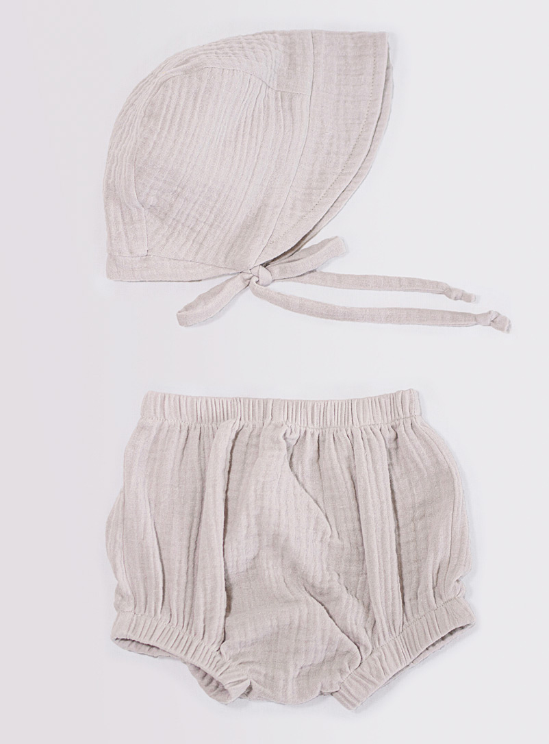 Petits Genoux Cream Beige Knicker and bonnet set Kids - 2 pieces