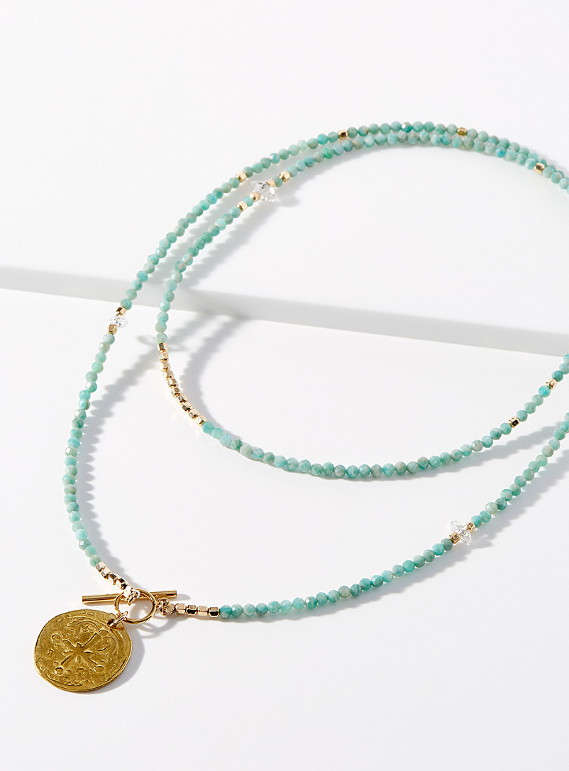 Taylor and Tessier Patterned Yellow Hopsage necklace for women