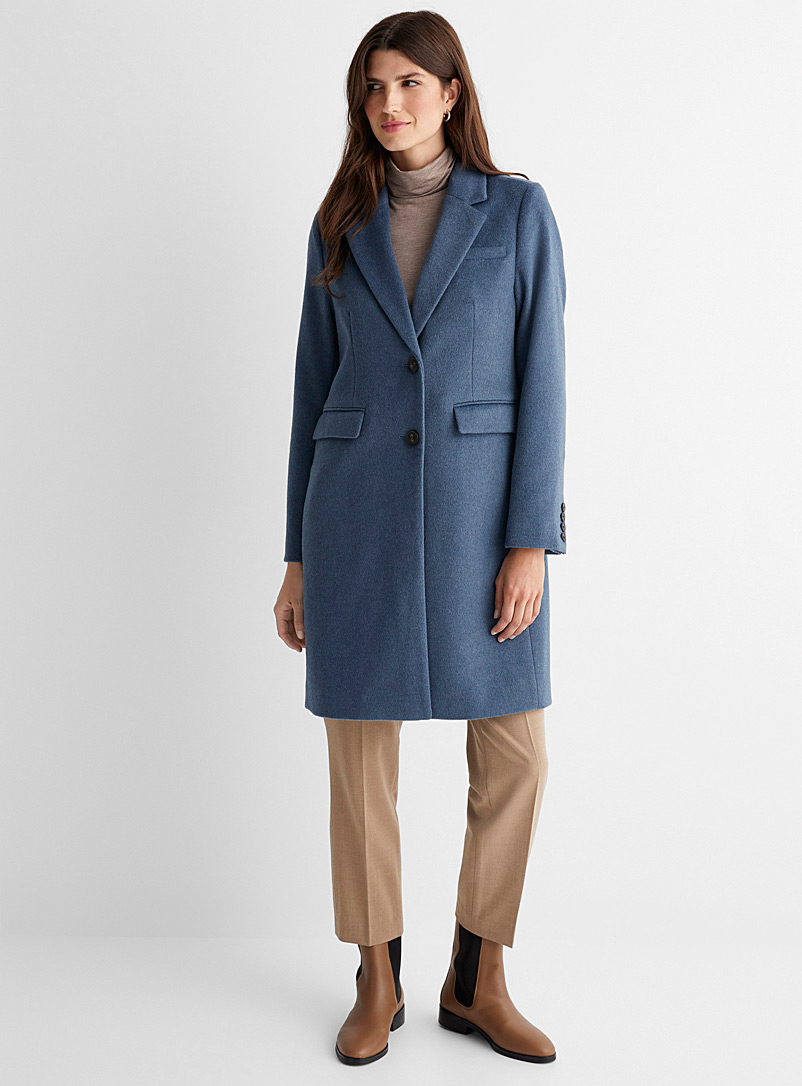 Contemporaine Slate Blue Recycled wool two-button overcoat for women