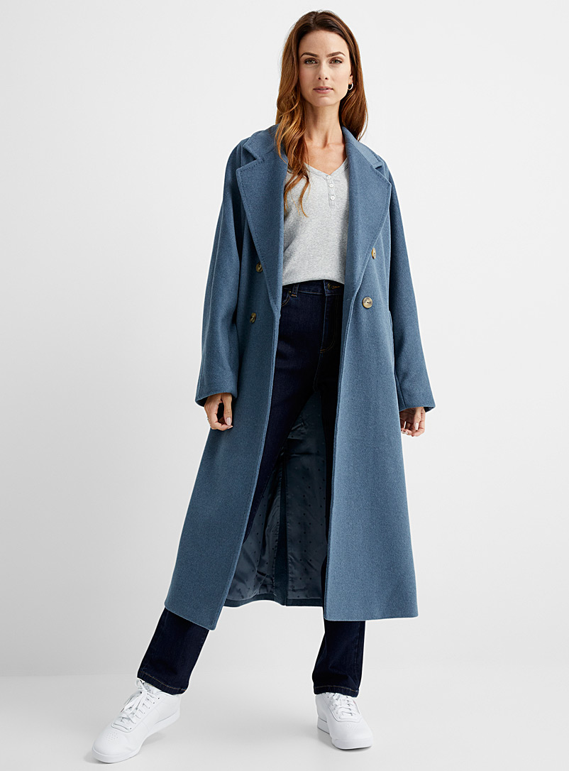 Contemporaine Slate Blue Oversized recycled wool overcoat for women