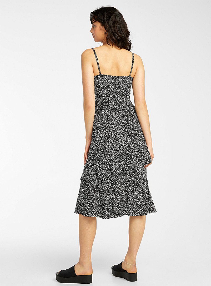 Icône Black and White Ditsy floral asymmetric dress for women