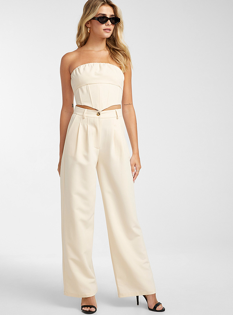 Icône Ivory White Cream pleated wide-leg pant for women
