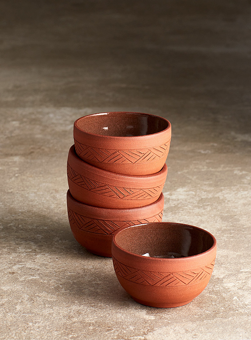 Les Poteries Line Gros-Louis Terracotta Traditional tea cups Set of 4