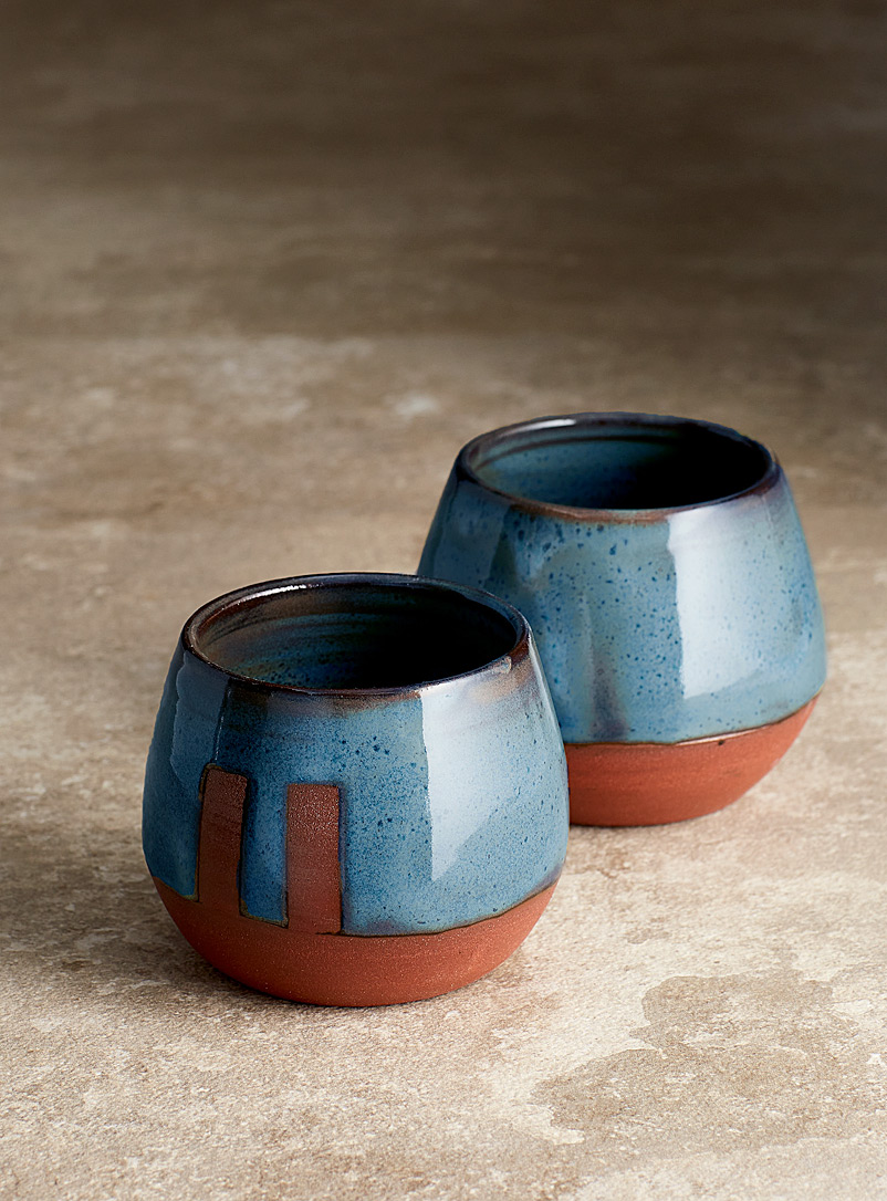 Les Poteries Line Gros-Louis Assorted blue  Small mystical blue cups Set of 2