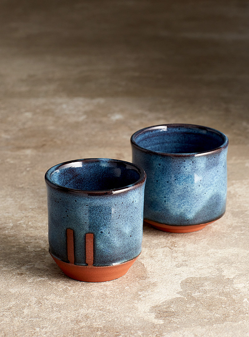 Les Poteries Line Gros-Louis Assorted green  Large mystical blue cups Set of 2