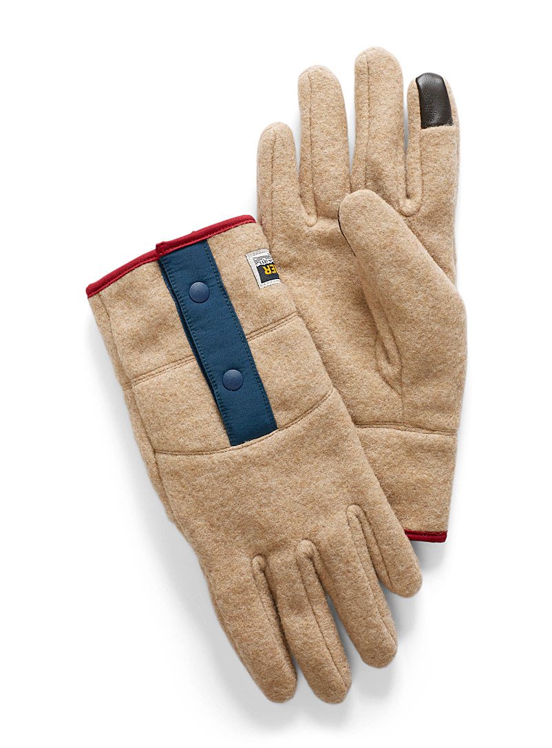Elmer Ivory White Colourful accent recycled wool gloves for men