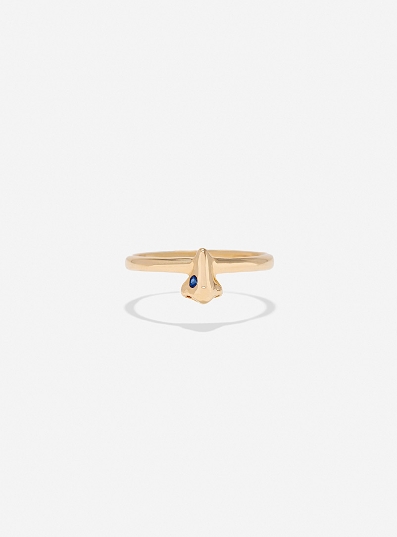 Captve Pink Nose-ring ring gold and coloured sapphire for women