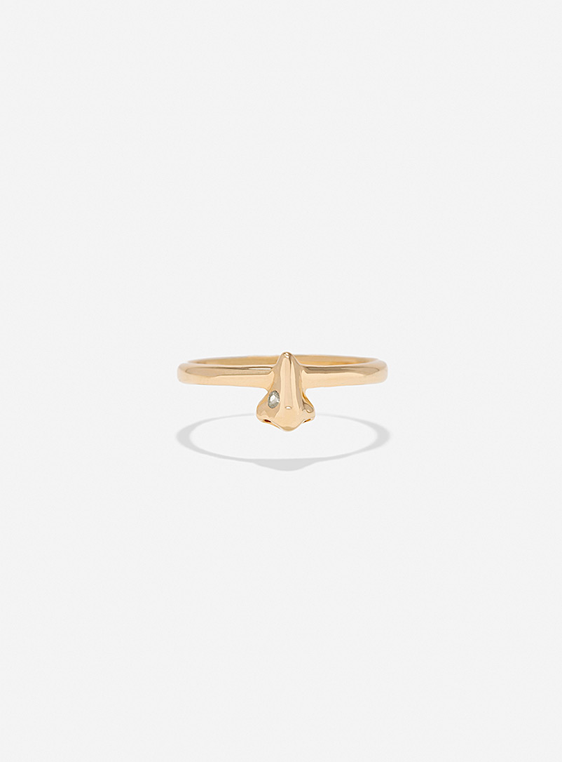 Captve White Nose-ring ring gold and light sapphire for women