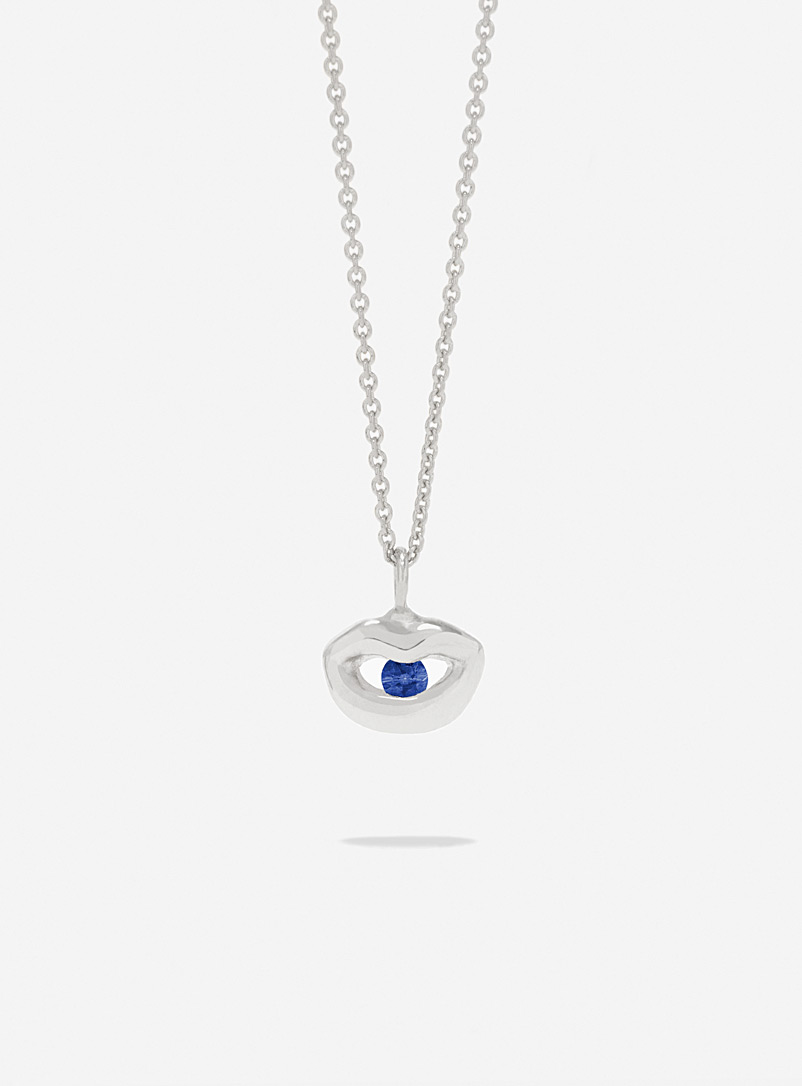 Captve Dark Blue Coloured sapphire and silver lip-ring pendant necklace for women
