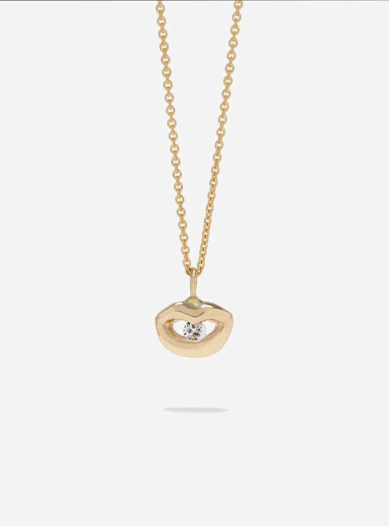 Captve White Light sapphire and gold lip-ring pendant necklace for women